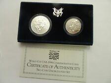 1994 US Mint UNC 2 Coin Set, World Cup, silver Dollar & clad half-mint pkg/COA