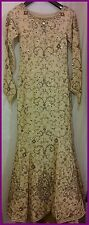 Bridal Beige, Gold & Purple Dress with long sleeves (size 8)