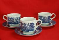 Churchill BLUE WILLOW Cups & Saucers (Lot of 3 Sets) Made in England