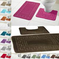 Greek Style Bath Mat Set 2Piece Non Slip Rubber Pedestal Mat Toilet Bathroom Rug