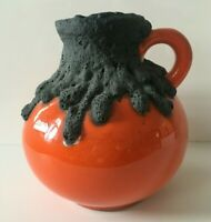 ROTH KERAMIK Vase Fat Lava orange 19cm mit Etikett WGP 60er 70er