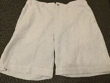 ALAN FLUSSER CLASSIC GOLF SHORTS MEN'S SIZE 38 BLUE AND WHITE PIN STRIPES NEW