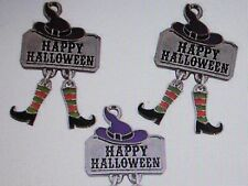 12 Enamel HAPPY HALLOWEEN Dangle CHARMS witch feet shoes hats SIGN Oct charm