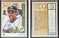 Felix Jose Signed 1989 Upper Deck #22 Card Oakland Athletics Auto Autograph