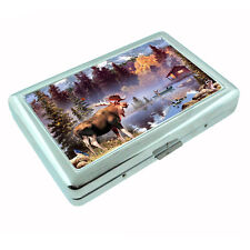 Moose Metal Silver Cigarette Case D1 Elk Deer Herbivore Mammal Forest Animal