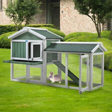 Wooden Rabbit Hutch Backyard Shelter Habitat Pet Cage with Run Hen Coop House