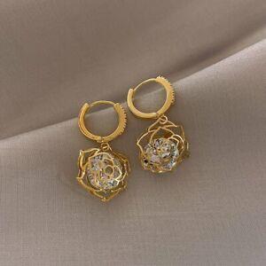 Fashion Crystal Pineapple Pearl Stud Earrings Dangle Charm Women Wedding Jewelry