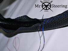 FOR PEUGEOT 205 83-98 PERFORATED LEATHER STEERING WHEEL COVER R BLUE DOUBLE STCH
