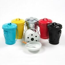 MINI TRASH CAN NOVELTY ASHTRAY BIN ASH TRAY SMOKING ACCESSORY METAL WITH HANDLE