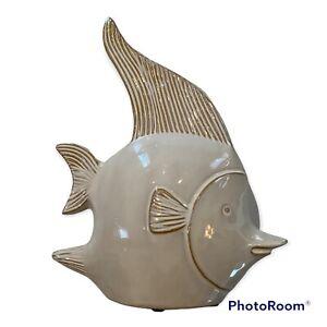 """New Three Hands Ceramic 11"""" Fish Sculpture Statue White Sea Coastal Decor  $44 F"""