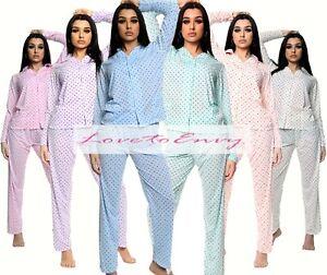 Ladies Pyjama Set Cotton Rich Womens Long Sleeve Polka Dot PJ Set Nightwear 8-16