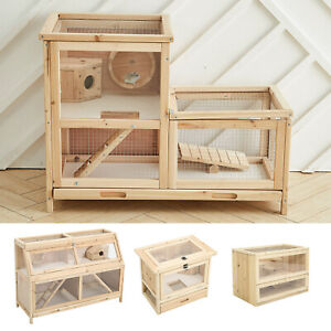 Large Wooden Hamster Cage Mouse Mice Rat Rodents Hutch Small Pet Play House New