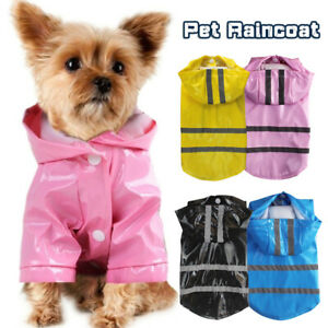 Pet Hooded Waterproof Raincoat Reflective PU Rain Coat For Dogs Cats Puppy ca