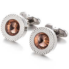 Silver Round Cufflinks With Bright Pink Stone Mens Wedding Cuff Links UK Seller