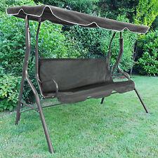 Hollywoodschaukel Gartenschaukel Outdoor Indoor 3 Sitzer mit Dach Grau
