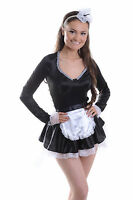 WOMENS LADIES SEXY FRENCH MAID COSTUME HEN DO FANCY DRESS PARTY 6 8 10 12 14