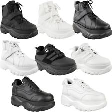 Womens Ladies Lace Up Hook And Loop Chunky Trainer Hi Top Wedge Casual Shoe Size