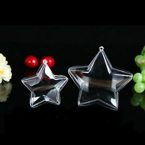 Clear STAR Fillable Baubles Christmas Plastic Favours Decoration Hanging Winter