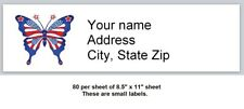 80 Small Personalized Address Labels Us Flag Butterfly Buy3 Get1 Free X 12