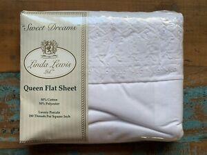 """Vintage Linda Lewis Ltd. """"Sweet Dreams"""" Luxury Queen Flat Sheet 180 Thread"""