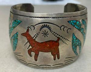 Silver Metal Cuff Bracelet Signed Tommy Singer Animal Turquoise Coral Vintage