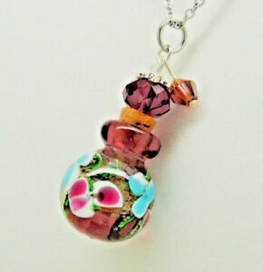Purple Glass Cremation Urn Necklace with Pink & Blue Flowers Ashes Jewelry
