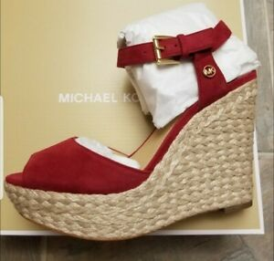 New $120 Michael Kors Carlyn Wedges heels - Leather - Berry Red Sandal MK Shoes