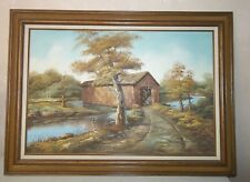 Lg Canvas Fall/Autumn Landscape Covered Bridge Scenery Painting/Signed Miller
