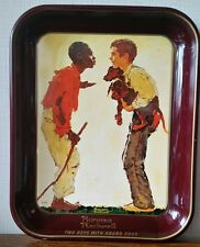 "Norman Rockwell 1976 Red Tray First Limited Edition ""Two Boys with Hound Dogs"""