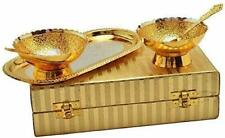 Gold Plated Brass Bowl Tray Set of 5 Pcs Birthdays Stylish Gift For Occasions
