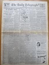 WW2 WAR Wartime Newspaper Daily Telegraph July 9 1943 Kursk Germans Driven Back