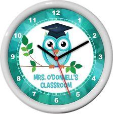 Owl Teacher Personalized Classroom Wall Clock Turquoise Teacher Lounge Gift
