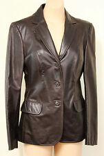 90s Brown JIGSAW Ladies Leather Jacket Size 10 Butter-Soft Retro Vintage Lined