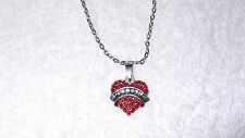 Believe Red Crystal Heart Charm Necklace Jewelry Pendant Silver Chain