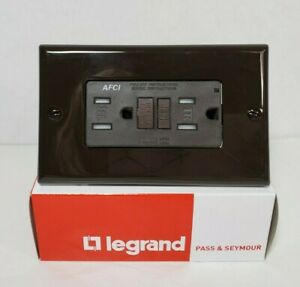 Legrand AFCI Receptacle With Cover Plate 15A 125V 60Hz Tamper Resistant - Brown