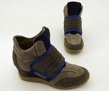Halbschuhe Catwalk Keilabsatz Stiefeletten Echtleder braun blau Gr. 40