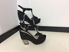 MIU MIU donna nero glitter Sparkle Grigio Argento Cunei Scarpe Tacchi Alti Taglia 5 in buonissima condizione