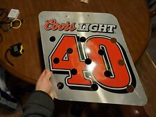 Coors Light 2 Sided #40 Racing Tin Side Holes