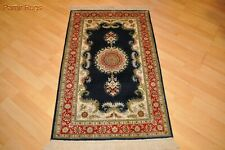 """2'6"""" x 4' handmade Hand-knotted Oriental rug  red & blue soft silky  design"""