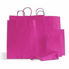 50 x Shocking Pink Paper Party Bags Twisted Handles 15x20x8cm Birthday Loot