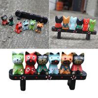 1 Set of 7PCS Wood Carving Cat Ornament Color Drawing Cat Decorations