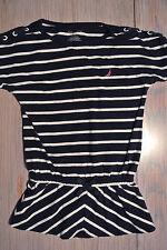 NAUTICA Striped Shirt Girls Size 6 Navy Blue - Sailboat Logo in pink *EUC*