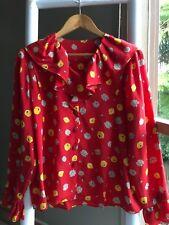 Vintage RETRO Red Abstract Silk Frill Collar Button Down Shirt Blouse Sz S M EUC