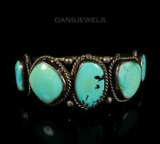 Navajo Vintage OLD PAWN Traditional Sterling Silver Turquoise 5 Stone Bracelet