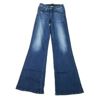 """Express Wide Leg Flare Jeans Mid Rise Stretch Blue Womens 0R 26"""""""