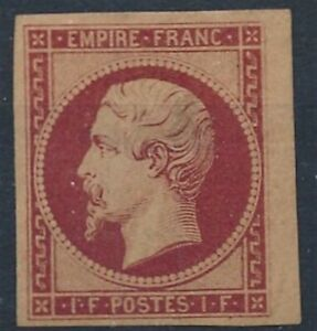 [7581] France 1853 good stamp fine/very fine MH value $9500. Small thin
