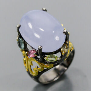 Jewelry Handmade Chalcedony Ring Silver 925 Sterling  Size 7 /R167303