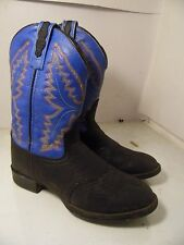 Old West Cowboy Boots Boys Kid Leather Flexible TPR Outsole Black 1937 Sz 030