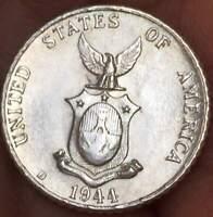 1944 D Philippines 10 Centavos  .75 SILVER **UNC*** LUSTER BU COIN