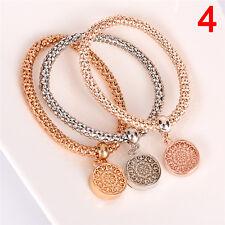 3Pcs/Set Women Chain Bangles Gold Silver Rose Gold Bracelets  Rhinestone Bangle&